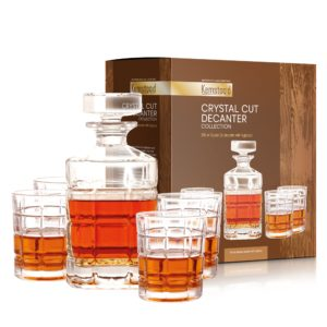 Crystal Whiskey Decanter Set with 4 Glasses