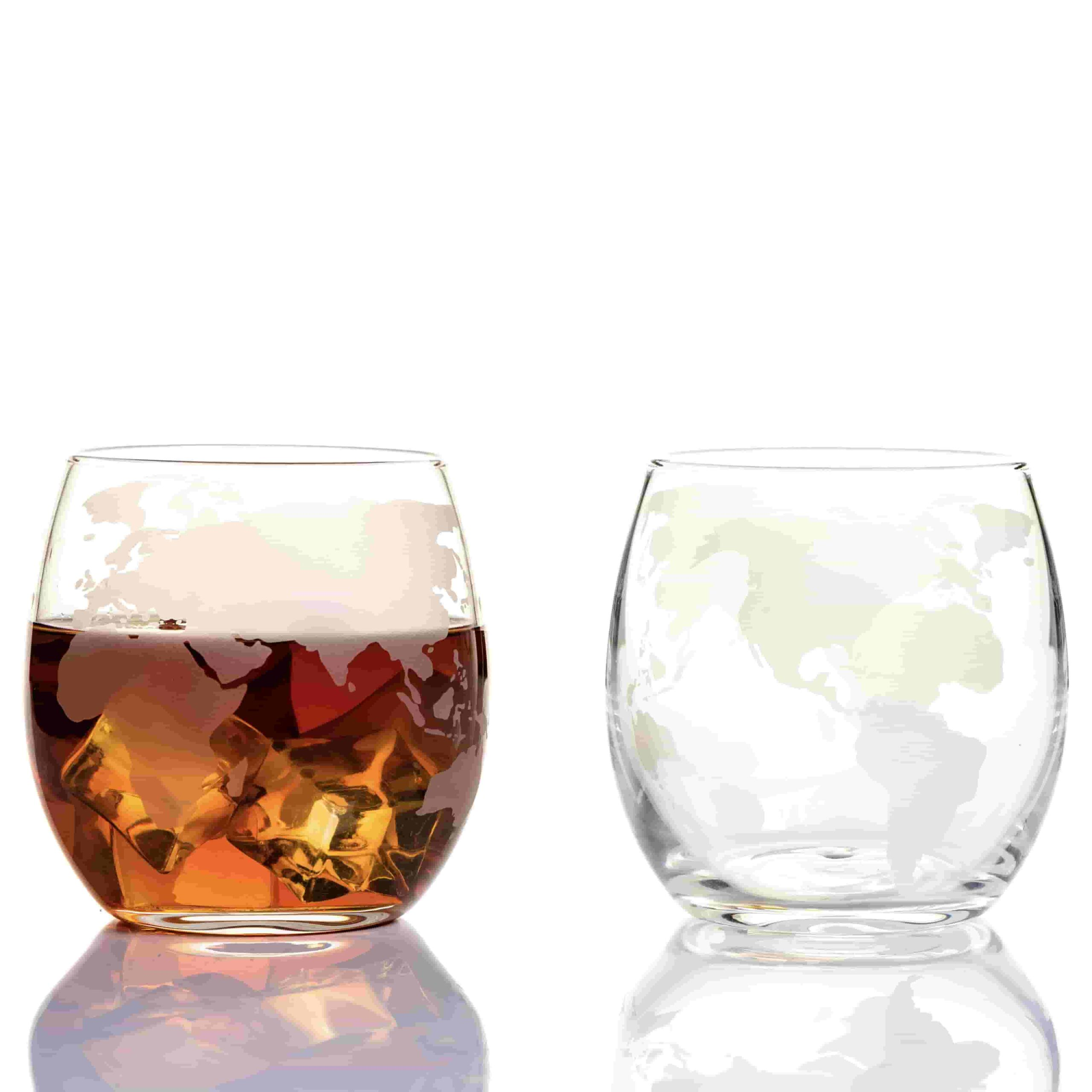 Etched Globe Spinning And Rocking World Whiskey Glasses 10oz 300ml Set Of 2 Kemstood
