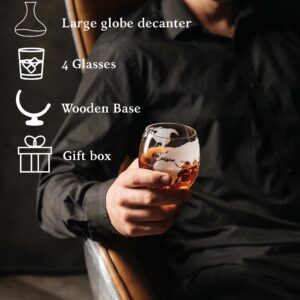 NEW! Whiskey Etched World Globe Decanter Set with 4 Glasses with NEWEST Wood Stand