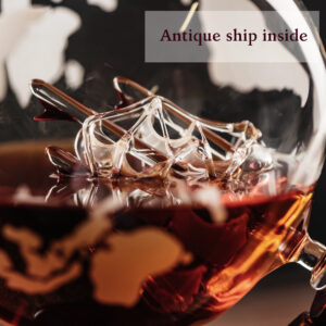 Etched World Whiskey Globe Decanter (28 Oz) in Premium Gift-Box