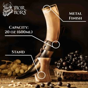 Large Viking Drinking Horn with Stand
