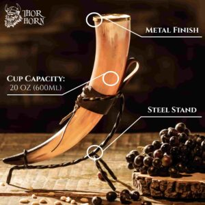Large Viking Drinking Horn with Metal Stand