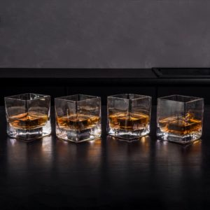 Whiskey Square Glasses Set of 4 with Luxury Gift Box