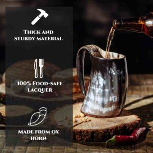 Drinking Horn Mug with Wooden Base