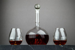 Whiskey Decanter and Glasses Set with Mountain on Bottom