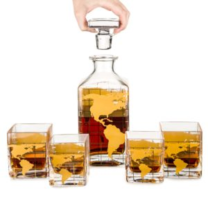 Map decanter Set – Glass whiskey decanter GOLD Etched Map in GIFT box