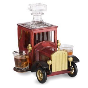 Whiskey Decanter Set with Crystal Glasses and Old Fashioned Vintage Car Stand