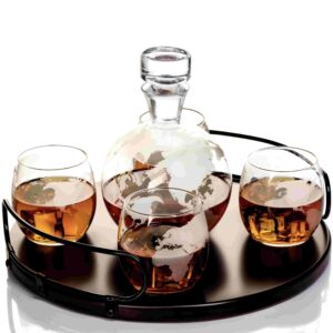 NEWEST Large Etched Globe Decanter Set with 4 glasses on Wooden stand